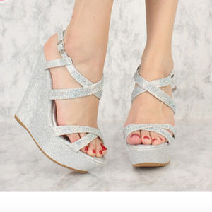 Silver Shimmer Wedge Sandals